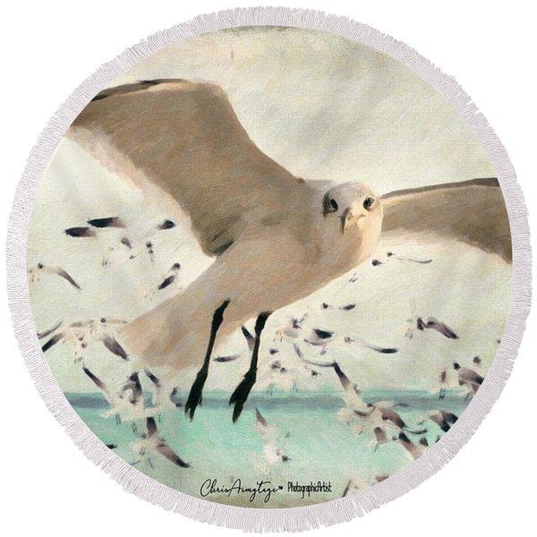 Flight Of The Gulls Round Beach Towel