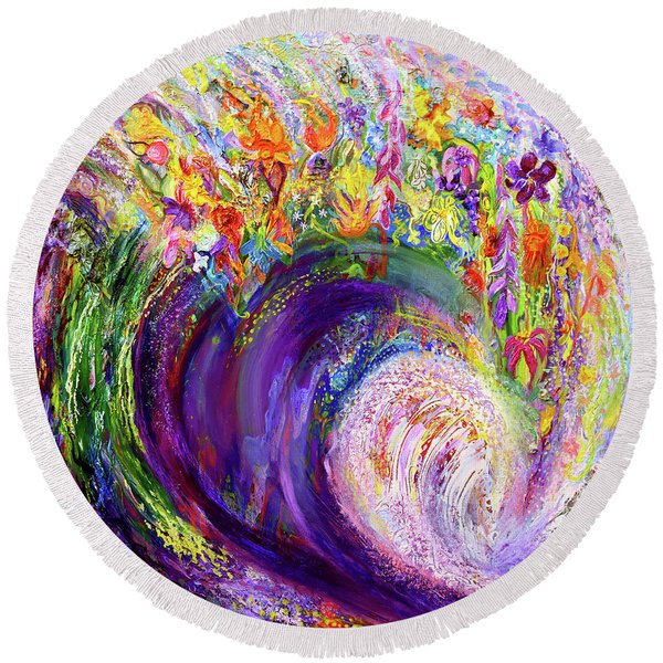Flower Wave Round Beach Towel