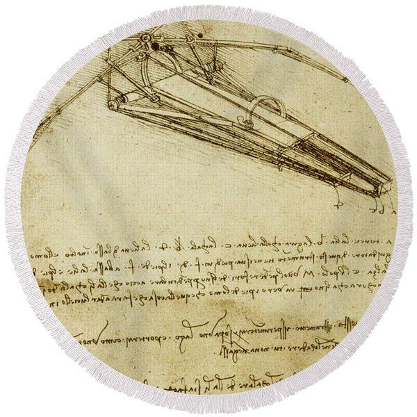 Flying Machine, Codex Atlanticus By Leonardo Da Vinci Round Beach Towel
