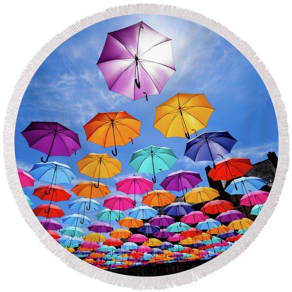Flying Umbrellas II Round Beach Towel