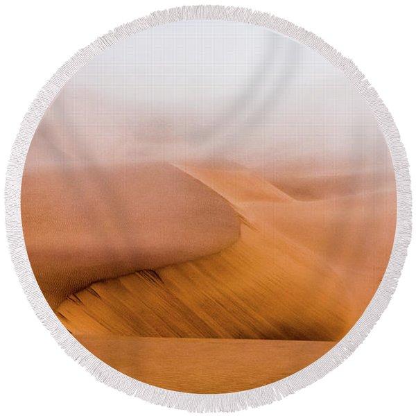 Foggy Namib Desert Round Beach Towel