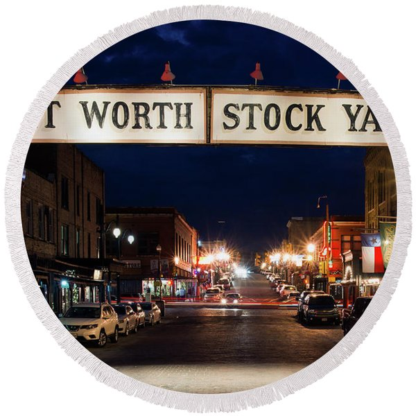 Fort Worth Stock Yards 112318 Round Beach Towel