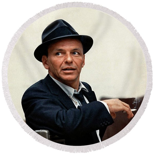 Frank Sinatra At Capitol Records, 1953 Round Beach Towel