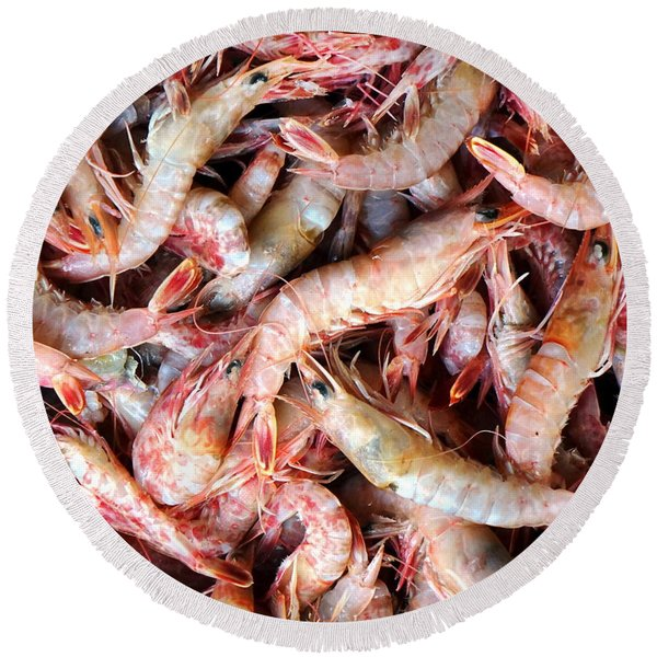 Fresh Prawns At The Fish Market Round Beach Towel