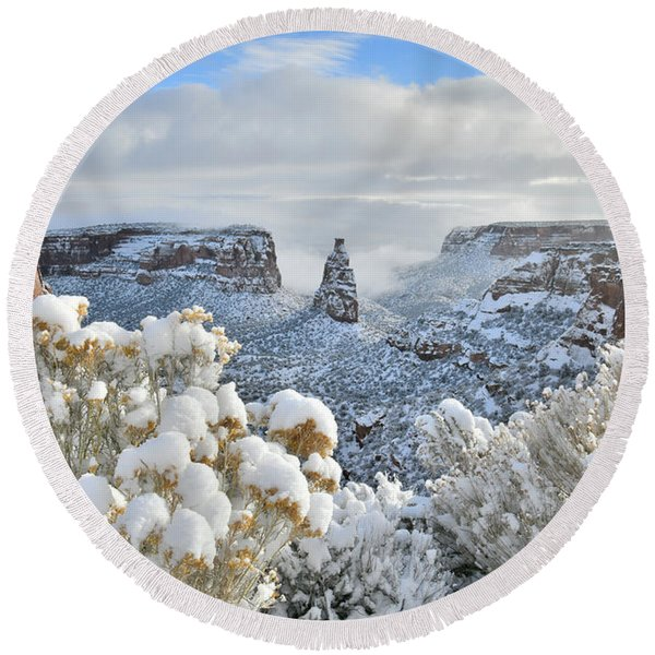 Fresh Snow At Independence Canyon Round Beach Towel