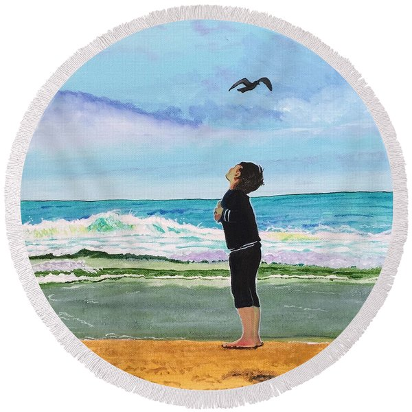 Gazing At Gulls Round Beach Towel