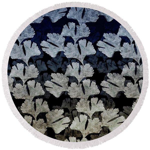 Ginko Leaf Pattern Round Beach Towel