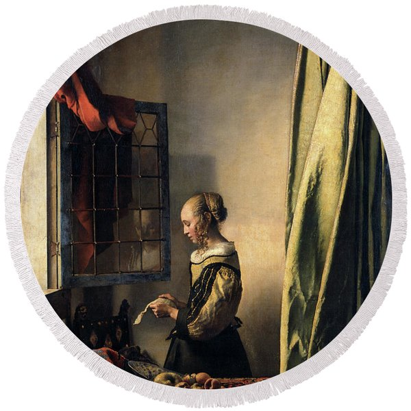 Girl Reading A Letter By An Open Window, 1659 Round Beach Towel
