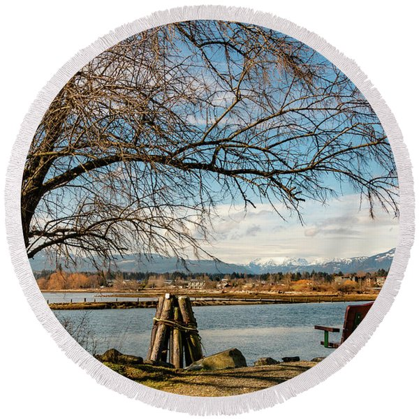 Glacier View Round Beach Towel