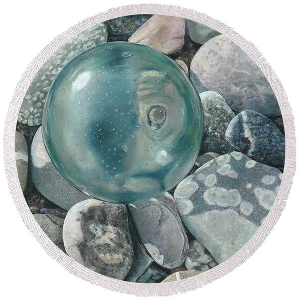 Glass Float And Beach Rocks Round Beach Towel