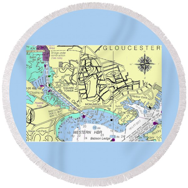 Gloucester, Ma Round Beach Towel