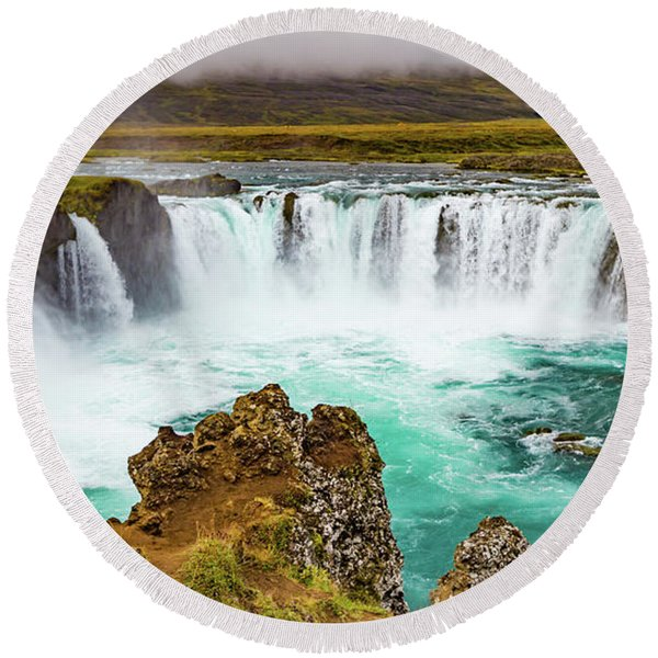 Godafoss Waterfall, Iceland Round Beach Towel
