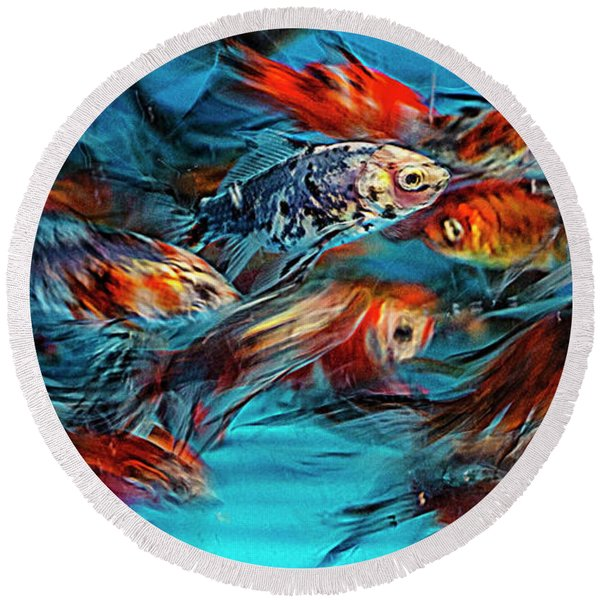 Gold Fish Abstract Round Beach Towel