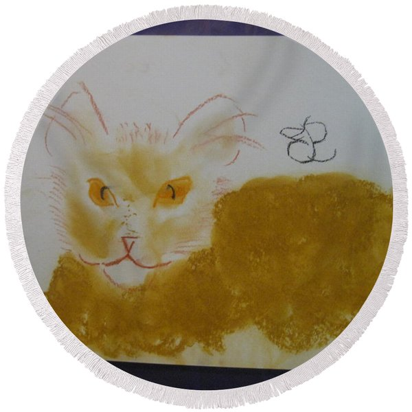 Golden Cat Round Beach Towel