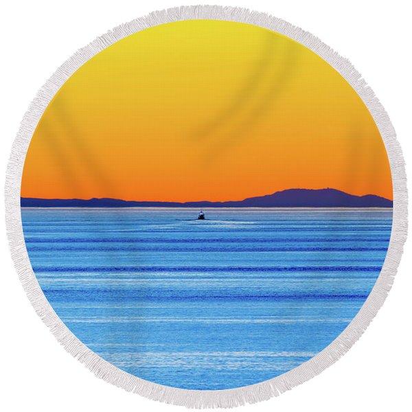 Golden Sunset Series I I Round Beach Towel