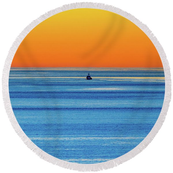 Golden Sunset Series I I I Round Beach Towel
