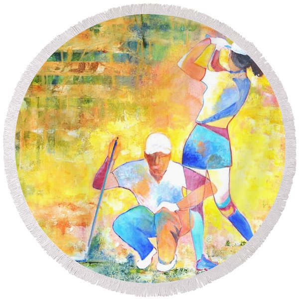 Golf Maniac Round Beach Towel