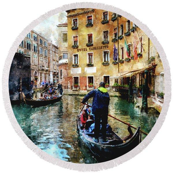 Gondola Traffic Near Piazza San Marco In Venice, Italy - Watercolor Effect Round Beach Towel