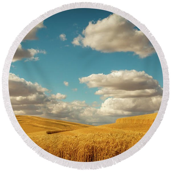 Grains Of Palouse Round Beach Towel