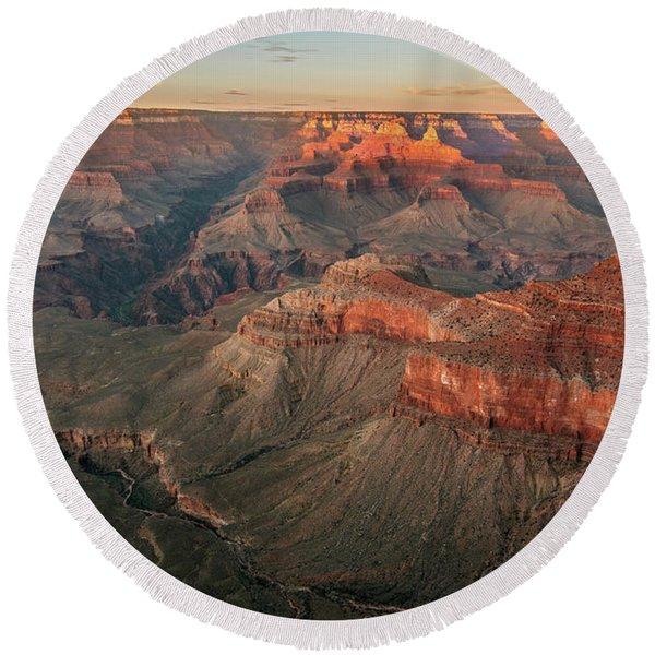 Grand Canyon Pastoral  Round Beach Towel