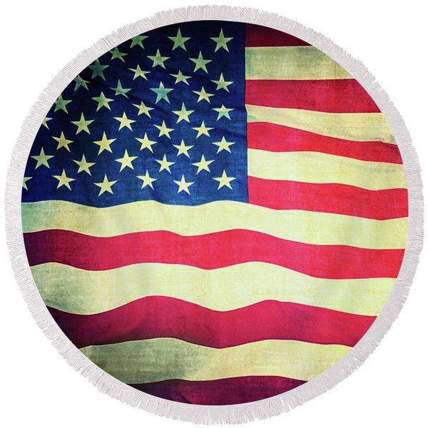 Grand Old Flag Round Beach Towel