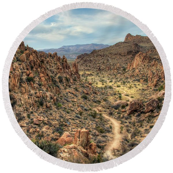 Grapevine Mountain Trail Round Beach Towel