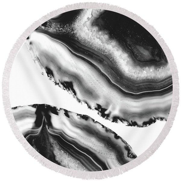 Gray Black White Agate #2 #gem #decor #art Round Beach Towel
