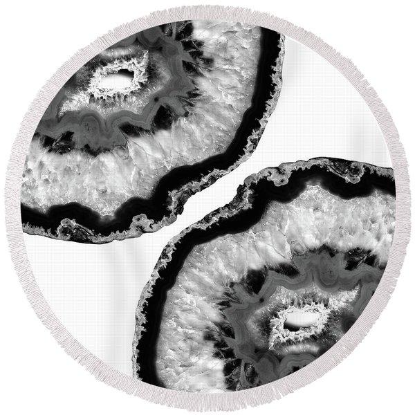 Gray Black White Agate Finesse #1 #gem #decor #art Round Beach Towel