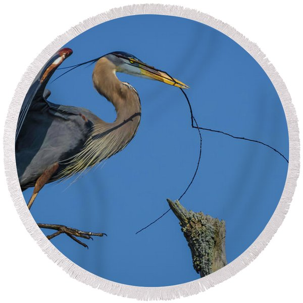 Great Blue Heron 4034 Round Beach Towel