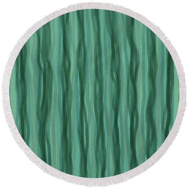 Green Stripes Round Beach Towel