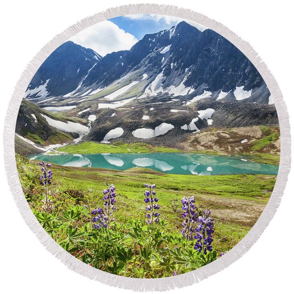 Round Beach Towel featuring the photograph Grizzly Bear Lake by Tim Newton
