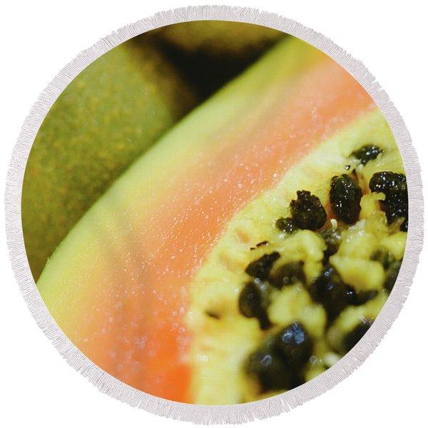 Group Of Fruits Papaya, Grape, Kiwi And Bananas Round Beach Towel