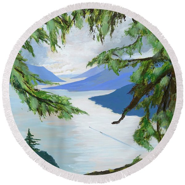 Guided Through The Fjords Round Beach Towel