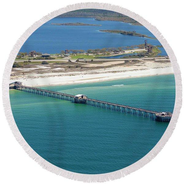 Gulf State Park Pier 7464n Round Beach Towel