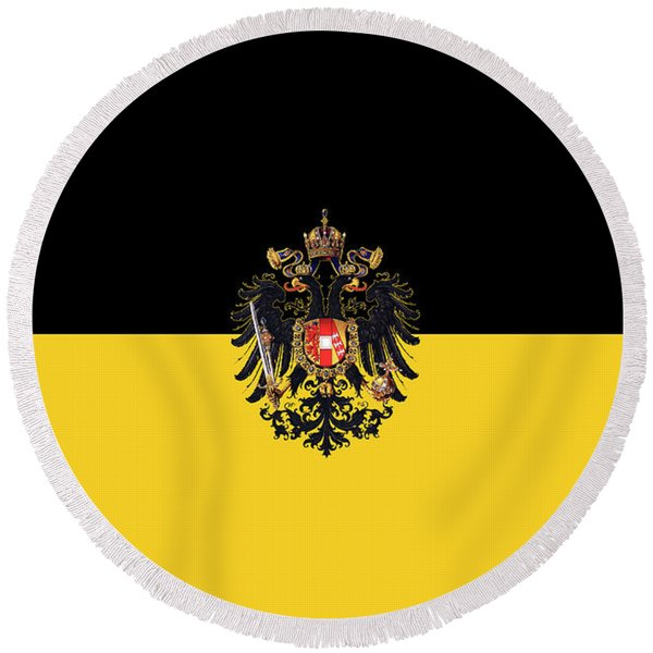 Habsburg Flag With Small Imperial Coat Of Arms Round Beach Towel