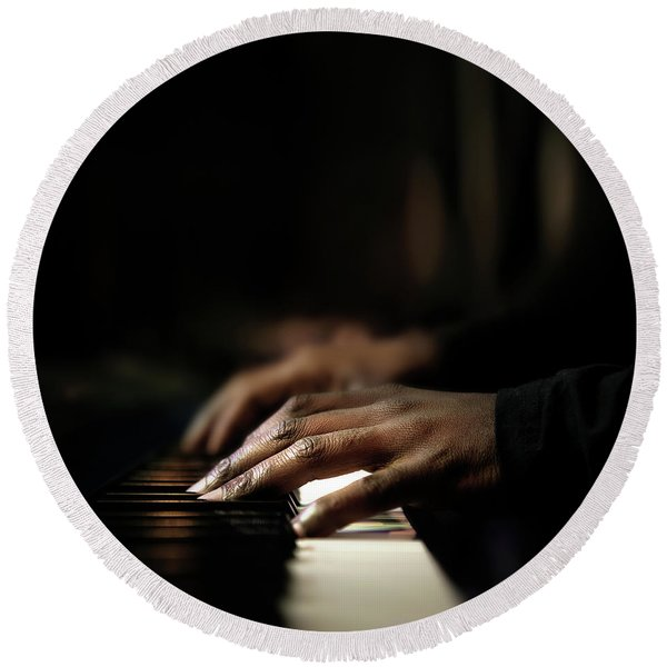Hands Playing Piano Close-up Round Beach Towel