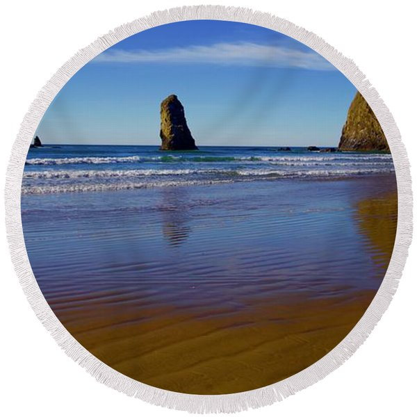Haystack Rock Panoramic Round Beach Towel