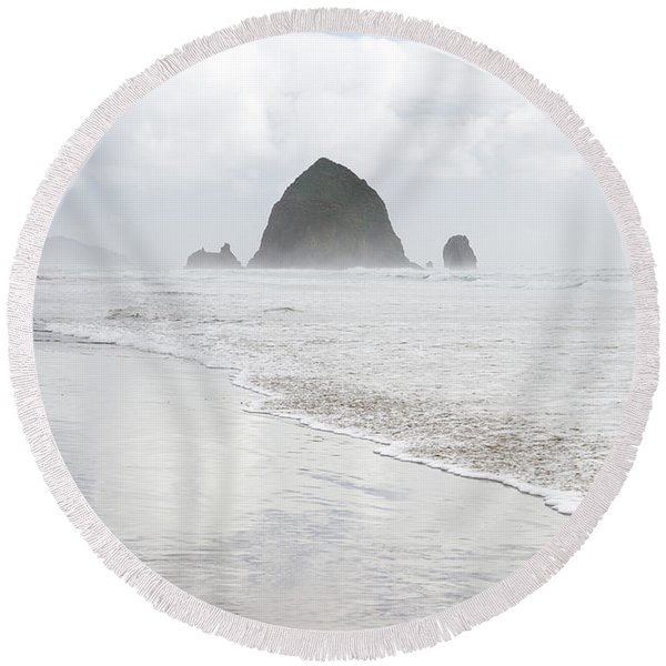 Round Beach Towel featuring the photograph Haystack Rock by Tim Newton