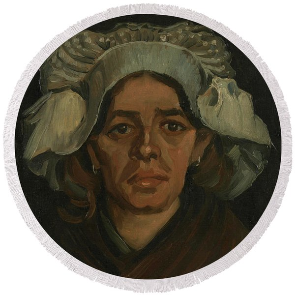 Head Of A Woman - 2 Round Beach Towel