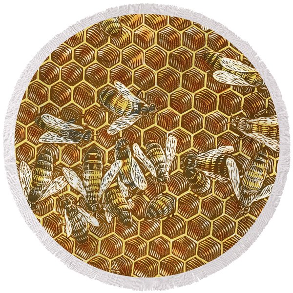 Honey Bees Round Beach Towel