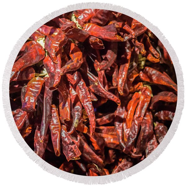 Hot Spicy Peppers Round Beach Towel