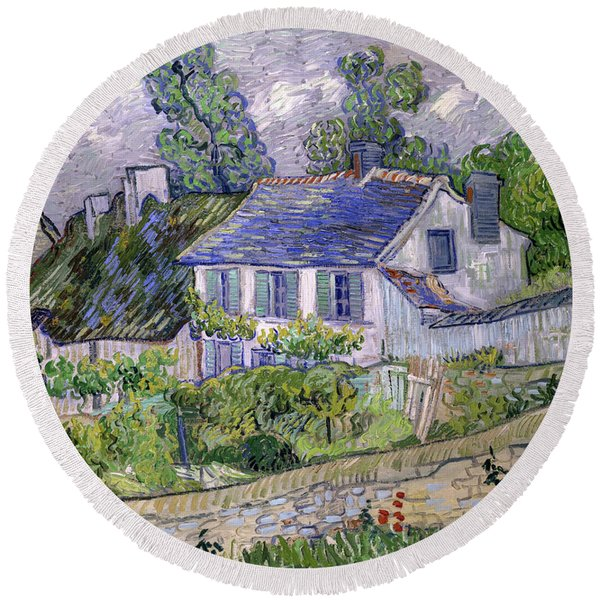 Houses At Auvers, Circa 1890 Round Beach Towel