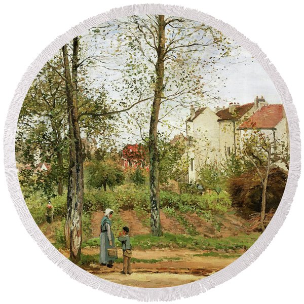 Houses At Bougival, Autumn - Digital Remastered Edition Round Beach Towel