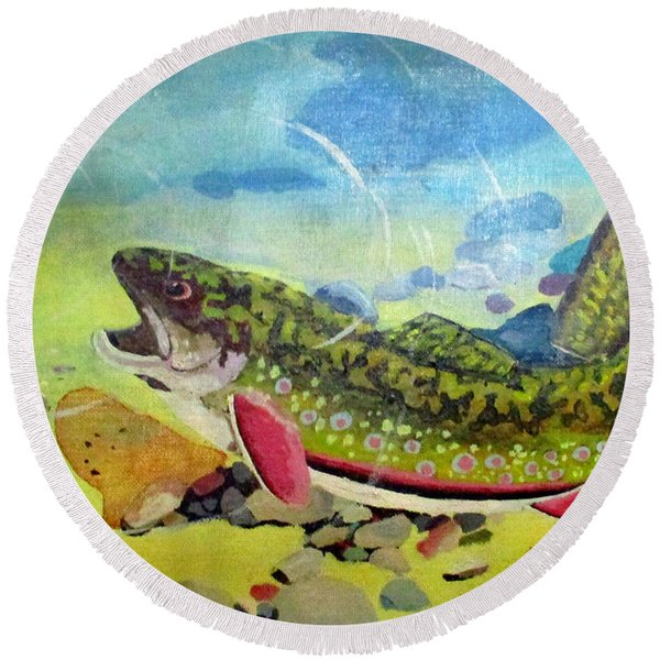 Hungry Trout Round Beach Towel