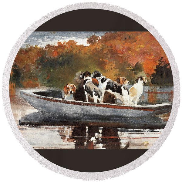 Hunting Dogs In Boat - Digital Remastered Edition Round Beach Towel
