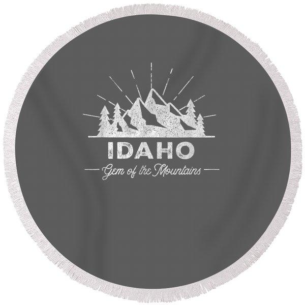 Idaho T Shirt Vintage Hiking Retro Tee Design Round Beach Towel