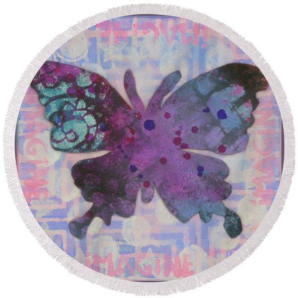 Imagine Butterfly Round Beach Towel