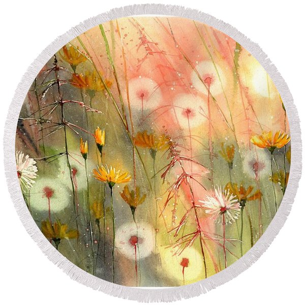 In The Morning Haze Round Beach Towel