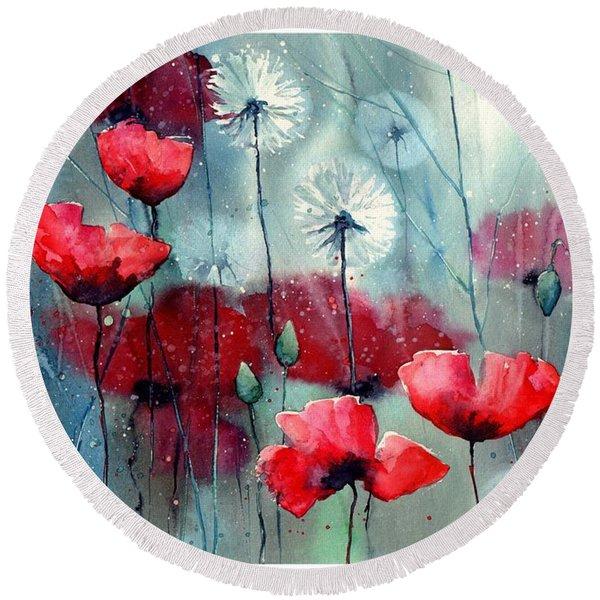 In The Night Garden - Rising Poppies Round Beach Towel