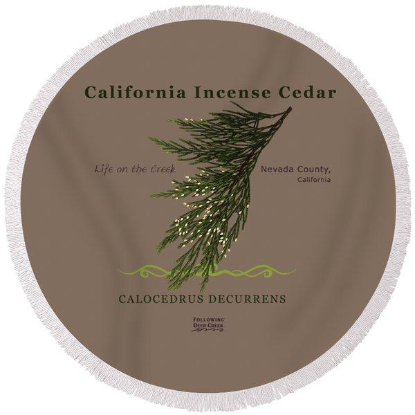 Incense Cedar - Brpwn Text Round Beach Towel